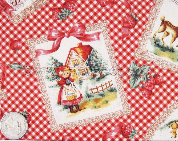 Rare 1/2 Lecien RED RIDING HOOD, Red Gingham Quilt Fabric - Japanese Import Precut - Out of Print