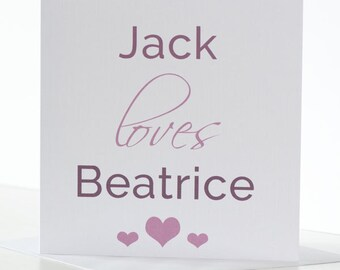 Personalised Anniversary Card for Husband, Boyfriend, Wife, Girlfriend, Finacee or Partner with Heart detail.