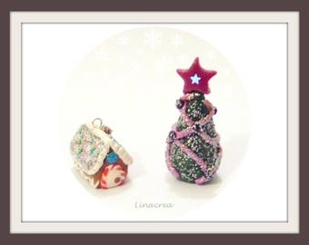Christmas decorations: miniature gingerbread house and Christmas tree