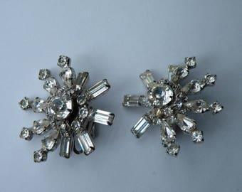 Sandor Snowflake clear rhinestone clip-on earrings. Layered.