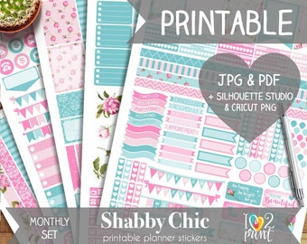 Shabby Chic Printable Planner Stickers, Erin Condren Planner Stickers, Monthly Planner Stickers, Pink Shabby Stickers, SILHOUETTE/ CRICUT