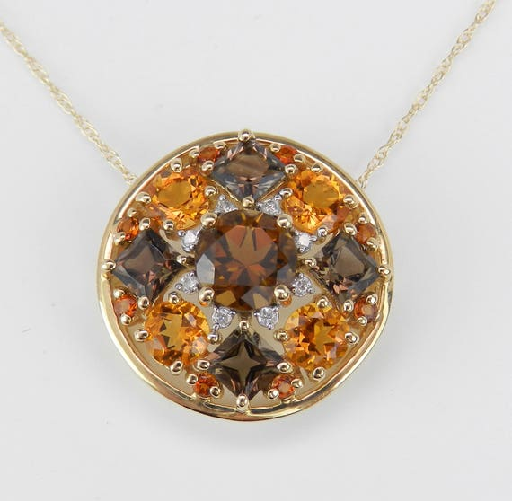 "Citrine Smokey Topaz Diamond Cluster Pendant Necklace 14K Yellow Gold 18"" Chain"