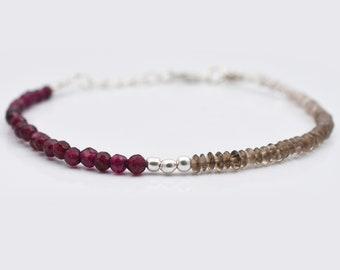 Pink Garnet & Smoky Quartz Beads Bracelet with Sterling Silver Findings - Handmade Bracelet - Pink Garnet Jewelry  Smoky Quartz Bracelets