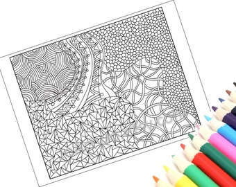 Coloring Page, Printable Zentangle Inspired, PDF Zendoodle Pattern, Page 15