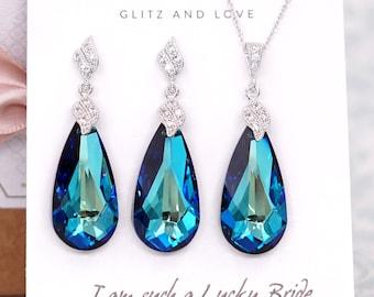 Schmuck-Set - Swarovski Bermuda blau Tropfenform Kristall Halskette und Ohrringe, Bräute Halskette, Braut, Brautjungfern E334