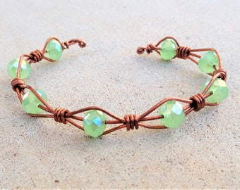 Copper Wire Wrapped Green Beaded Cuff Bracelet By Distinctly Daisy
