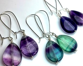 Rainbow Fluorite Earrings, Sterling Silver Dangle Earrings, Green, Blue, Purple, Transparent Teardrop Earrings, Boho Jewelry, Summer jewelry