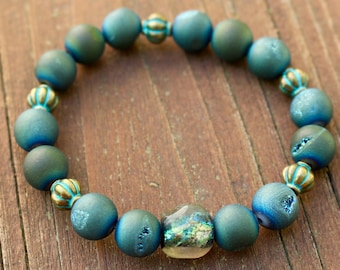 Handmade Teal Druzy Stretchy Bead Bracelet with a Beautiful Focal Basha Bead~ Ribbed Mykonos Greek Spacers~ Resort