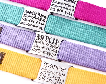 Personalized Name Plate Dog Collar - Engraved with 18 Webbing Colors to Choose From