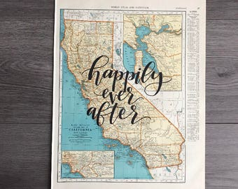California & Colorado | personalized calligraphy map | original vintage map | calligraphy map | custom calligraphy map | country map