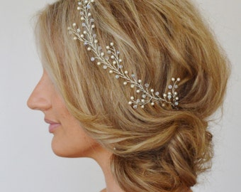 Wedding Hair Vine, Wedding Hair Piece,Bridal Headpiece, Swarovski Pearl Bridal Hair Vine, Formal Head Piece, Wedding Hair Vine, Crystal Vine
