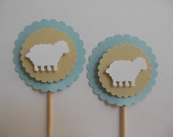 Sheep Cupcake Toppers - Blue, Tan and White - Boy Baby Shower Decorations - Boy Baptisms - Boy Birthday Decorations - Set of 12