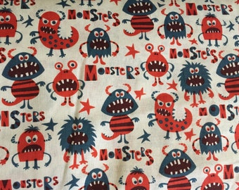 Colorful Blue and Red Monsters Fabric
