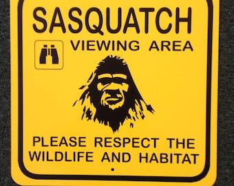 Sasquatch Viewing Area Metal Sign Bigfoot