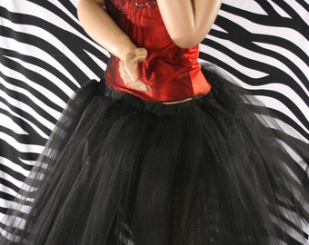 Adult tutu petticoat Black Romance skirt extra poofy knee length costume --You Choose Size -- Sisters of the Moon