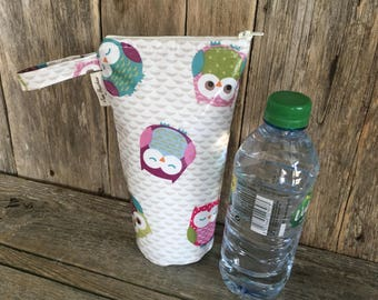 Insulated water bottle bag,oilcloth bottle carrier,insulated bottle bag,owls oilcloth