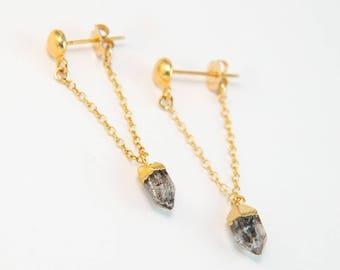 Raw Diamond Chain Stud Earrings, 14k Gold Filled Herkimer Diamond Hoop Chain, Minimalist Jewelry, Gemstone Stud Drop Earrings, Gift for Her