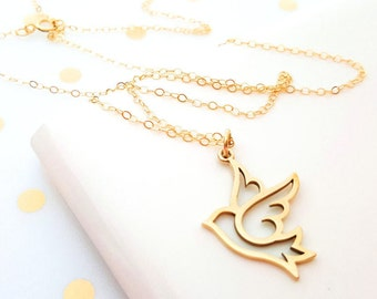 Gold Bird Charm Necklace - 14k Gold Fill Necklace - Simple Jewelry - Dainty Necklace - Gold Fill Jewelry - Bird Necklace - Gift for Her