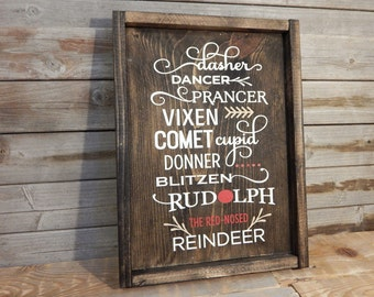 Rudolph and friends ...  Wood framed Christmas sign ...  Christmas decor