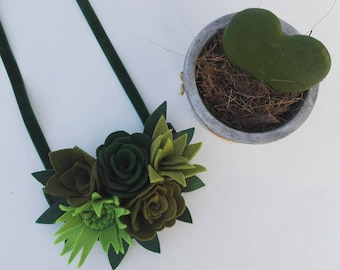 Felt succulent plant necklace