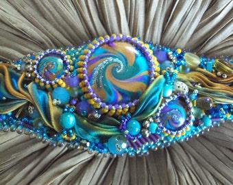 Bead Embroidery OOAK Cuff bracelet