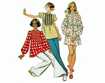 70's Mini-dress or Tunic Top Peasant Blouse Size 7/8 Bust 29 1970s Sewing Pattern Simplicity 5629 - Boho Chic Mini Dress