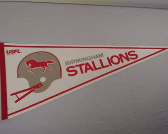Vintage USFL Birmingham Stallions Pennant Banner/ Flag