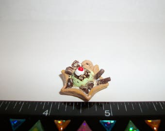 Dollhouse Miniature Handcrafted Mint Chocolate Chip Ice Cream Waffle Bowl Dessert Food for the Doll House 1275
