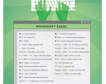 "Microsoft Excel Mac Keyboard Shortcut Printable Poster 8.5""x11"""
