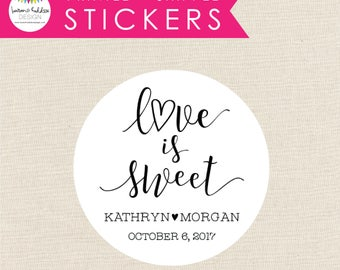 Love is Sweet Wedding Favors, Love is Sweet, Favor Stickers, Favor Labels, Round Favor Labels, Wedding Stickers, Lauren Haddox Designs