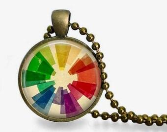 Color wheel necklace, vintage color wheel pendant, gift for artist, art teacher gift for her, art jewelry.