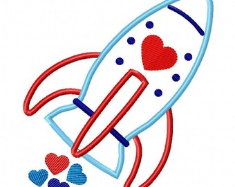 Valentine Rocket with Hearts Machine Embroidery Design
