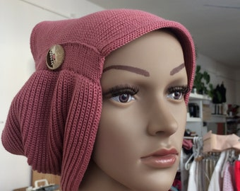 Neck Merino Wool Hat made in italy with handmade coconut button 1
