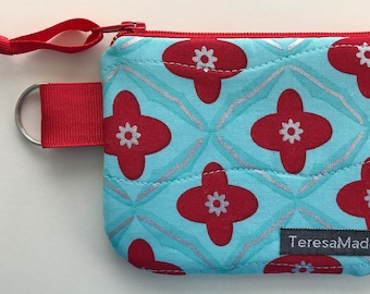 XX-Small Turquoise/Red Zip Pouch