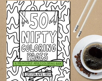 Printable Coloring Book Pages PDF Instant Download Adult Digital