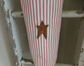 Plastic Bag Holder Made With Red and White Ticking Fabric and Primitive Metal Star