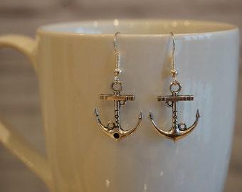 Silver Anchor Friendship Earrings
