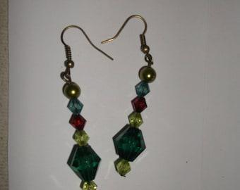 Green cascade earring