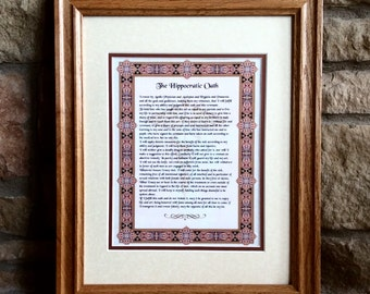 Hippocratic Oath - Dr. Medical Student Graduation Gift - An Elegant and Meaningful Graduation Present!  Doctor Art Print
