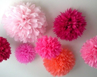 Pinks 7 tissue paper pompoms first birthday wedding ceremony reception decorations arch arbor aisle marker baby bridal shower sweet 16 girl