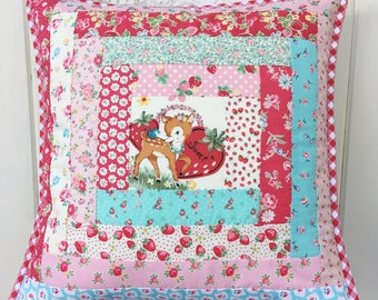 sweet deer log cabin patchwork pillow cover 16x16