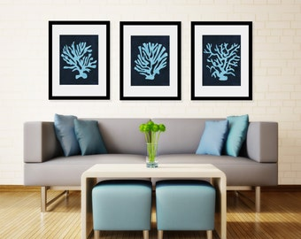 Set of 3 Indigo Blue Coral Prints 8x10 , 11x14 or 13X19 Coastal Boho
