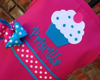 Personalized Cupcake Apron in Hot Pink and Turquoise, Kids Apron. Adult Apron, Hot Pink Apron, Cucpake Apron, Mommy and Me Aprons