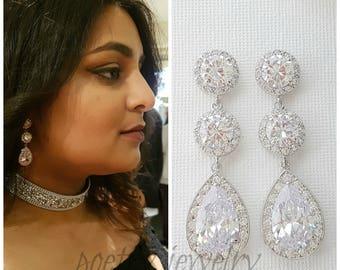 Crystal Bridal Earrings, Wedding Earrings, Long Rose Gold Earrings, Halo Style, Gold, Cubic Zirconia Drop Earrings, Bridal Jewelry, Evita
