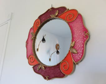 round mirror resin brightly 1980 80s' 1990's 90's vintage round colored mirror