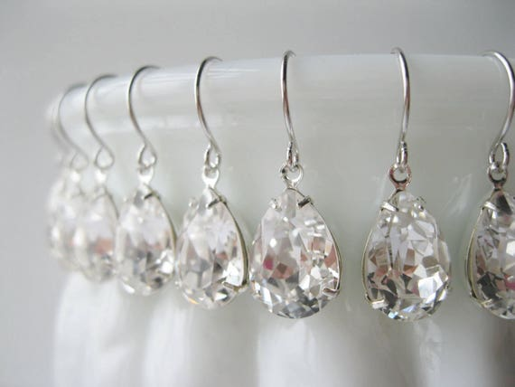 Set of 9 pairs Silver Crystal Teardrop Bridesmaid Earrings Bridesmaid Sets Art Deco Wedding Jewelry Vintage Style Bridal Jewelry Nickel Free