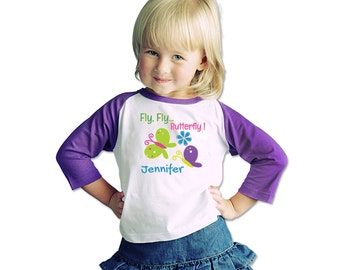 Your Child's Name Personalized Shirt With Custom Butterfly Art Purple