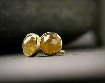gelbe 5mm Lünette rose geschliffenen Diamanten Ohrstecker massiv 18k gelb gold 1,43 ct Gesamtgewicht