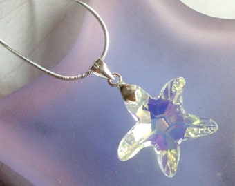 AB Swarovski Crystal seastar Necklace Sterling Silver