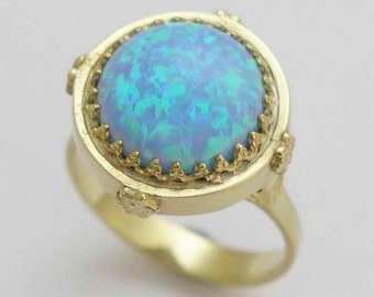 Solid Yellow gold opal ring, crown ring, Victorian ring, opal October birthstone ring, engagement ring, floral ring - Something blue RG1247